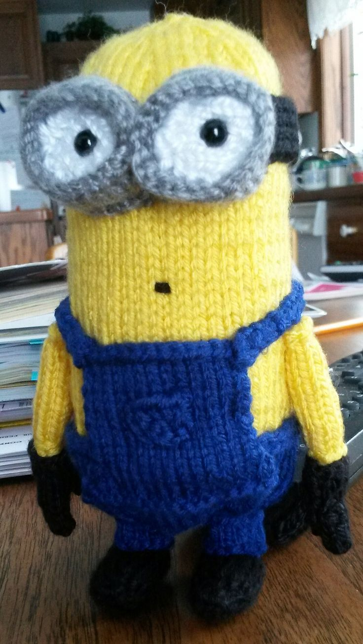 Free Knitting Pattern for Minion 6 Inch Toy - This small Minion softie was designed byAlexandria Batista for fingering yarn.