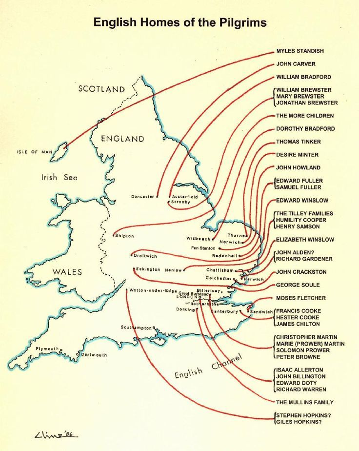 Original homes of the Pilgrims in England before going to America. Most came from the eastern shires of England.
