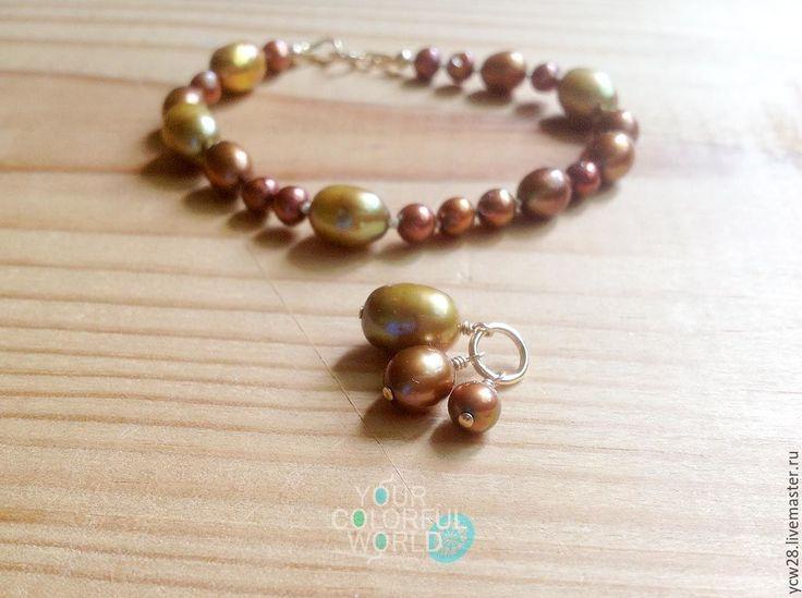 Купить Золотое свечение // Golden glow - жемчуг речной, жемчуг натуральный, браслет на руку