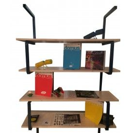 SERIES Library with frame in steel and lamellar fir shelves cm. 120x40x180h