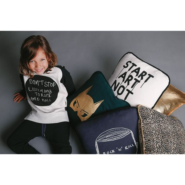"Rock Your Kid Winter 2015. ""Don't stop listening to rock and roll"" Tshirt. Rock n Roll face cushion illustration by Marc Johns. ""Start Art Not Riots"" cushion illustration by Ian Stevenson."