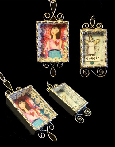 soldered shadowbox pendants