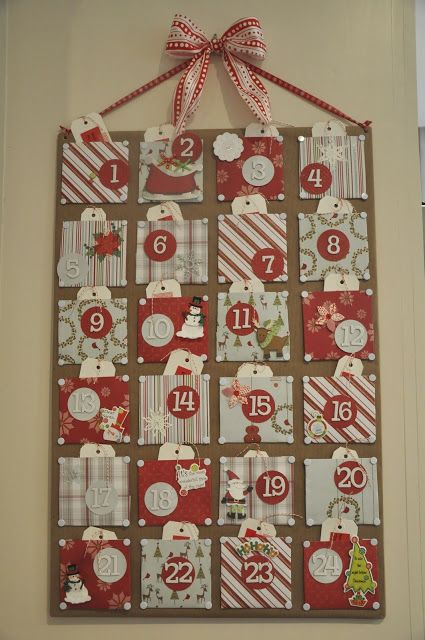 Handmade advent calendar; fill pockets with nightly activities for family.