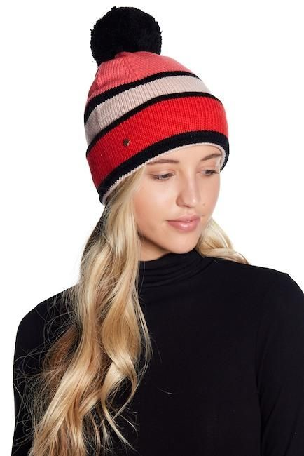 6726d4152012c Kate Spade Retro Striped Colorblock Pink Red Women s Wool Beanie Toque Hat