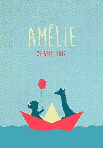 Geboortekaartje Amélie - Pimpelpluis - https://www.facebook.com/pages/Pimpelpluis/188675421305550?ref=hl (# meisje - giraf - dieren - papieren bootje - boot - zee - water - vrolijk - ballon - retro - vintage - silhouet - lief - origineel)