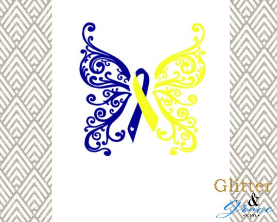 Share the love and spread the awareness of Down Syndrome with this beautiful butterfly ribbon decal