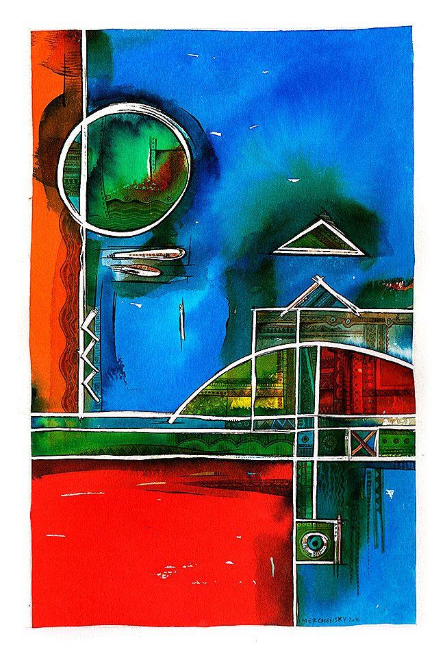 Constructivo I - Acuarela sobre papel Guarro - 20 x 30 cm - 2016 - Autor: Vladimir Marcos Merchensky Arias