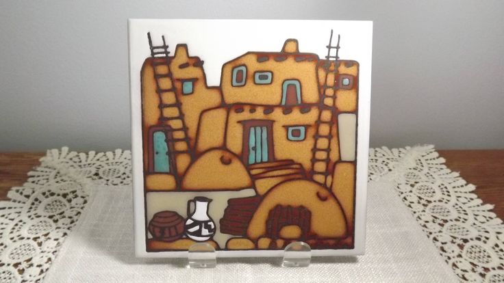 Vintage Ceramic Coaster Trivet or Wall Decor Tile Southwestern New Mexico Design Signed 1982 Teissedre by OutrageousVintagious on Etsy