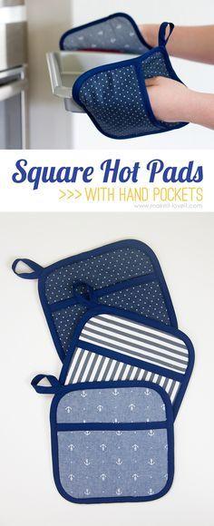 DIY Square Hot Pad ... con bolsillos para las manos | mediante Make It y me encanta