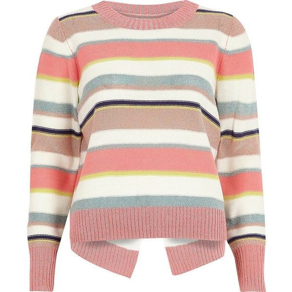 River Island Pink metallic stripe knit split back jumper ($72) ❤ liked on Polyvore featuring tops, sweaters, knitted tops, knitwear, pink, women, crew neck sweaters, pink jumper, striped sweater and long sleeve sweater