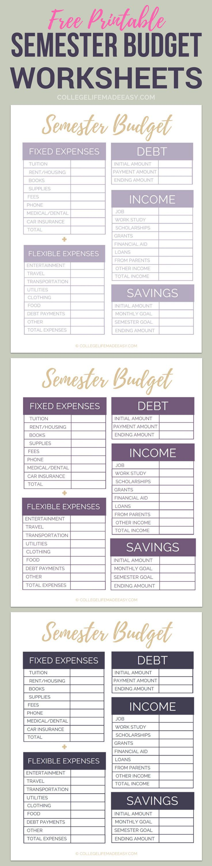 Free Printable College Semester Budget Worksheets: Organize Your Finances in Minutes! | Free College Student Budget Template | Semester Planner Tracker |