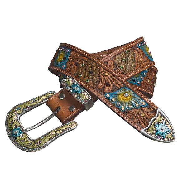 Nocona Hand Tooled Hand Painted Western Belt (For Women