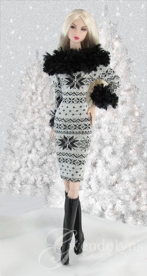 GREY SNOWFLAKES  Sweater Dress for 12 dolls by GwendolynsTreasures ☆
