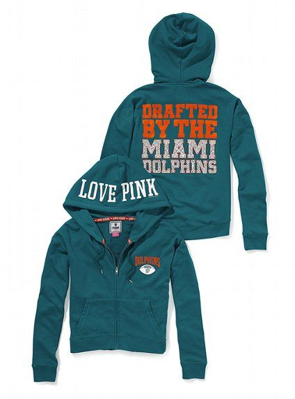 THIS COULD BE A BIRTHDAY PRESENT !!!!! Miami Dolphins Bling Slouchy Zip Hoodie - Victoria's Secret PINK® - Victoria's Secret