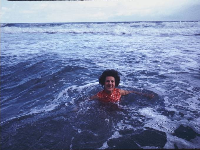 After Joe Kennedy's death in 1969, Rose Fitzgerald Kennedy became the family matriarch. Here she is frolicking in the water at a Hyannis family gathering.