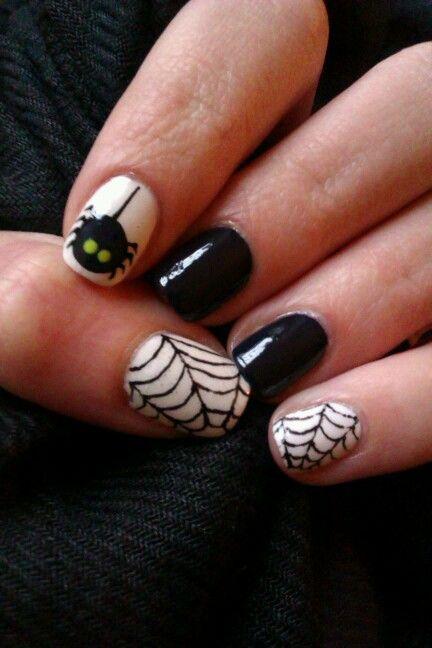 Spider nails / Pająk #spider #spiderweb #black #white #nails #nailart #czarne #paznokcie #zdobienie