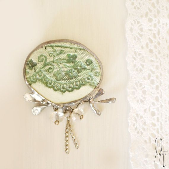 delicate elegant brooch, lace vintage look, soldered, rustic green and white decor, faceted clear beads, mixed media