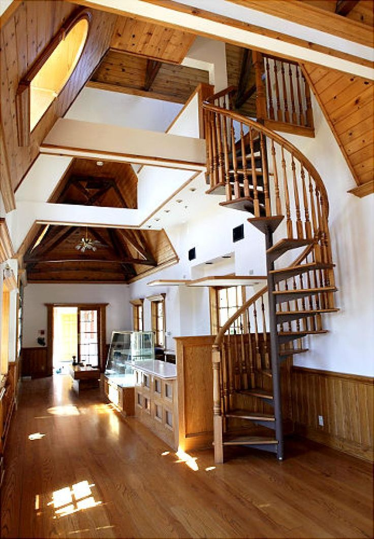 Inside, a spiral staircase leads to a loft and an overlook room.