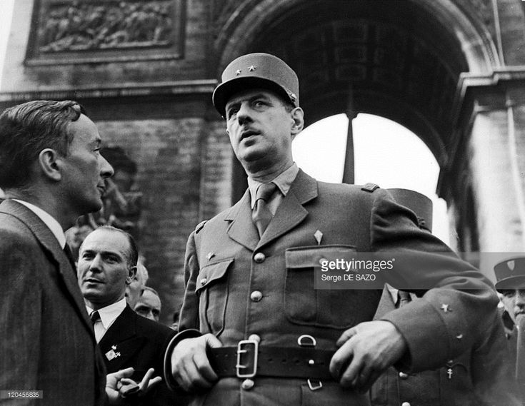 Charles De Gaulle And Georges Bidault In Paris, France On August 26, 1944 - Charles De Gaulle And Georges Bidault in front Arc de triomphe .