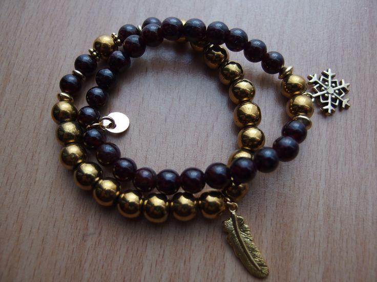 Gold hematite, Garnet