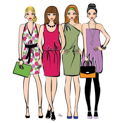 sex and the city girls stylish illustration