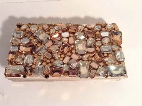 PRADA Nude Jeweled Flap Clutch Bag Handbag pre-owned $2110 ...