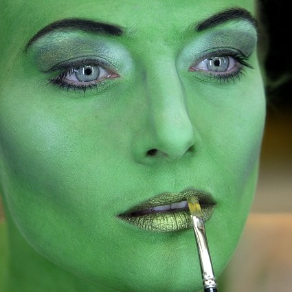 Wicked Elphaba] Close-up eye makeup detail.
