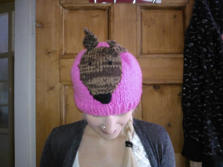 Hat With Greyhound Badge knitting pattern   Greyhound