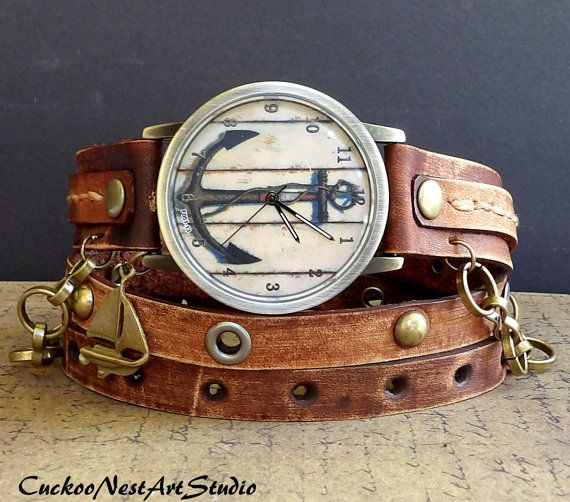 Hey, I found this really awesome Etsy listing at https://www.etsy.com/uk/listing/194077021/anchor-watch-nautical-watch-brown-watch