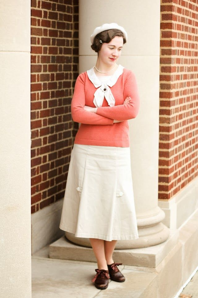 1930s Sweater, finger waves, and white knitted beret.