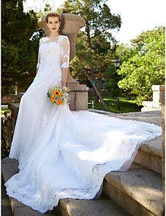 A-ligne jewel cathédrale train tulle robe de mariée avec beading appliques bouton