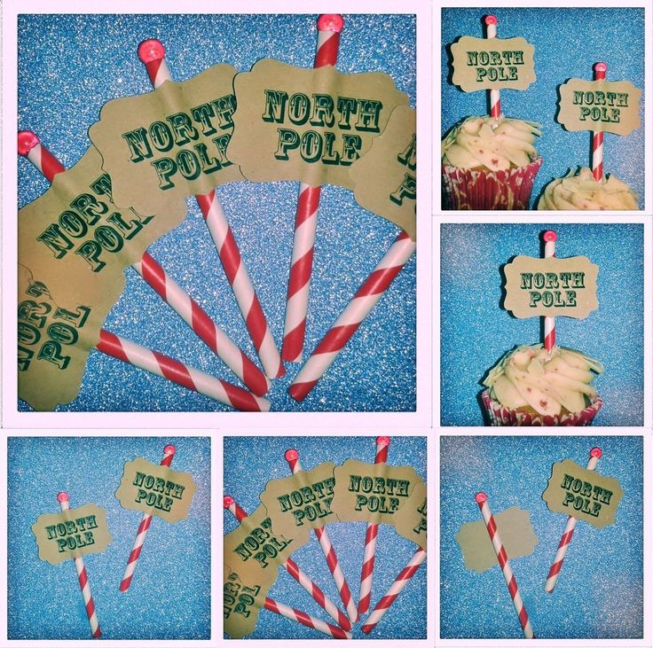 Deluxe Christmas NORTH POLE Red & White Cupcake Sign Post Cake Decorations | Home, Furniture & DIY, Celebrations & Occasions, Party Supplies | eBay!