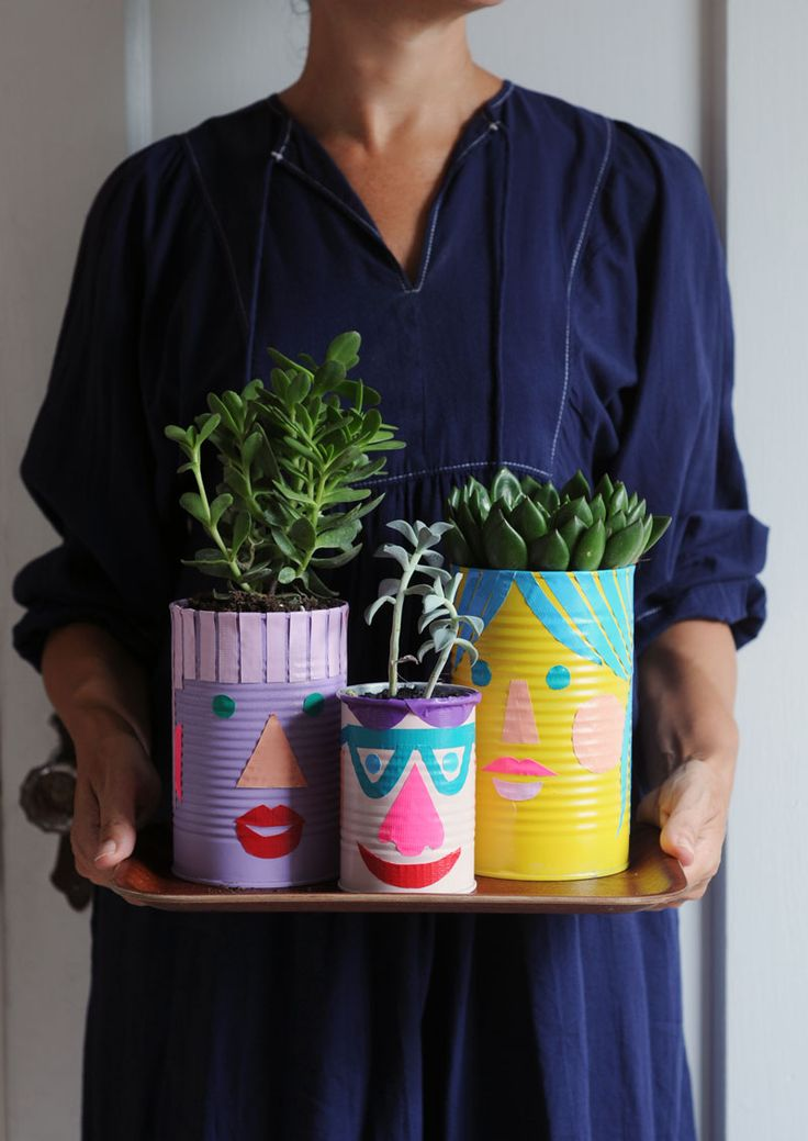 upcycle cans into cute planters