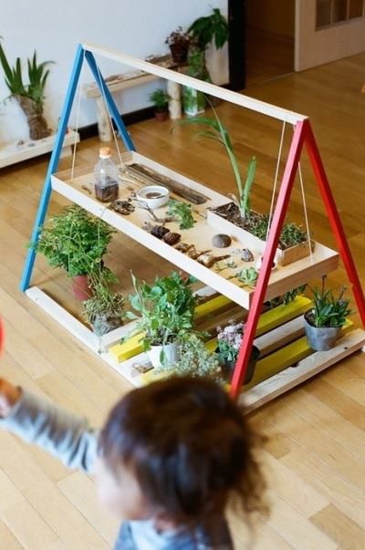 gardening with kids :) I love this simple set-up for bringing the garden into the classroom/playroom