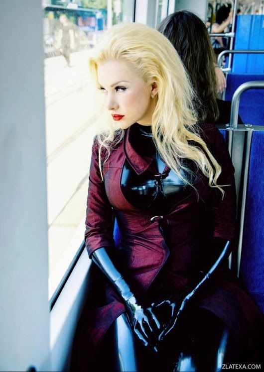 Blonde latex catsuit everything
