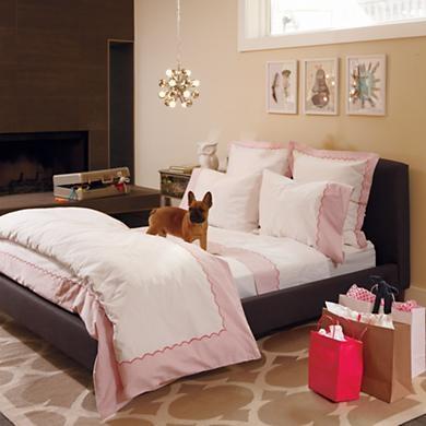 girls bedding pink scalloped bedding set