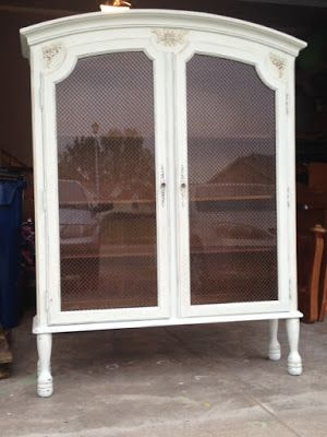Top Of A Hutch Converted To A China Cabinet By Adding Legs