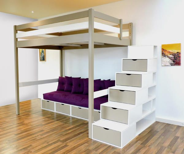 Lit mezzanine design bi couleur taupe blanc escalier cube for Lit mezanine 2 places