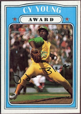 1972 Topps Cy Young Award - Vida Blue, Oakland A's, Baseball Cards That Never Were.