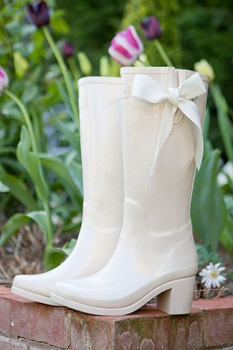 Wedding Wellies with a heel for posture- great in photos or for outdoor weddings from elliesweddingaccessories.co.uk