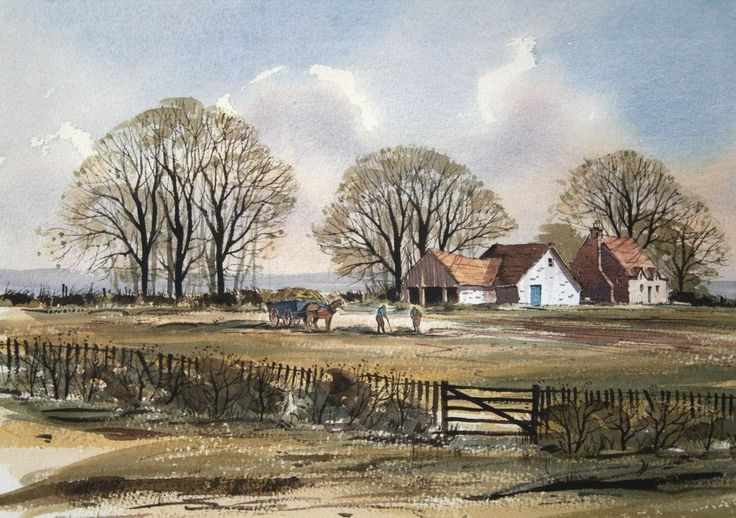 Rowland Hilder (1905 - 1993) Haymaking on a Kent Farm