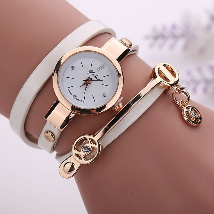 Women Leather Bracelet Watch Gold Case Quartz Watch For Women Wrist Watch New Style Laides Casual Rhinestone WristWatch !XR1297