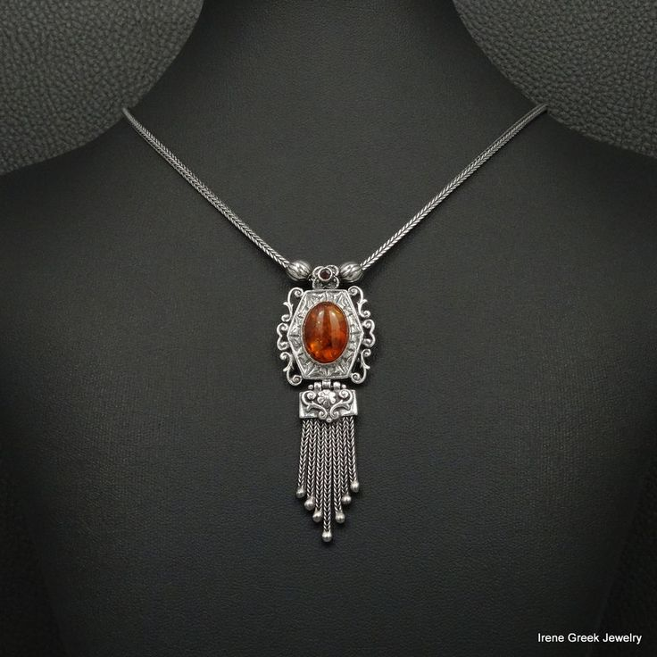 BIG PRESSED AMBER BYZANTINE MEDIEVAL STYLE 925 STERLING SILVER GREEK NECKLACE #IreneGreekJewelry #Pendant
