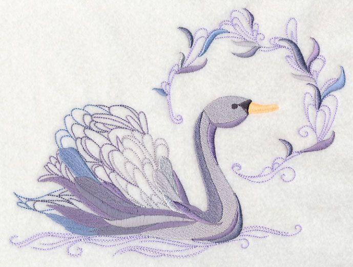 Avian Elegance - Swan  Bird BATHROOM SET HAND TOWELS EMBROIDERED Beautiful…