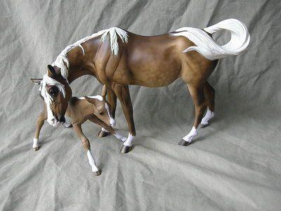 Breyer Horse Statue CM/Custom OOAK Susecion and LeFire Arabians Sooty Palomino