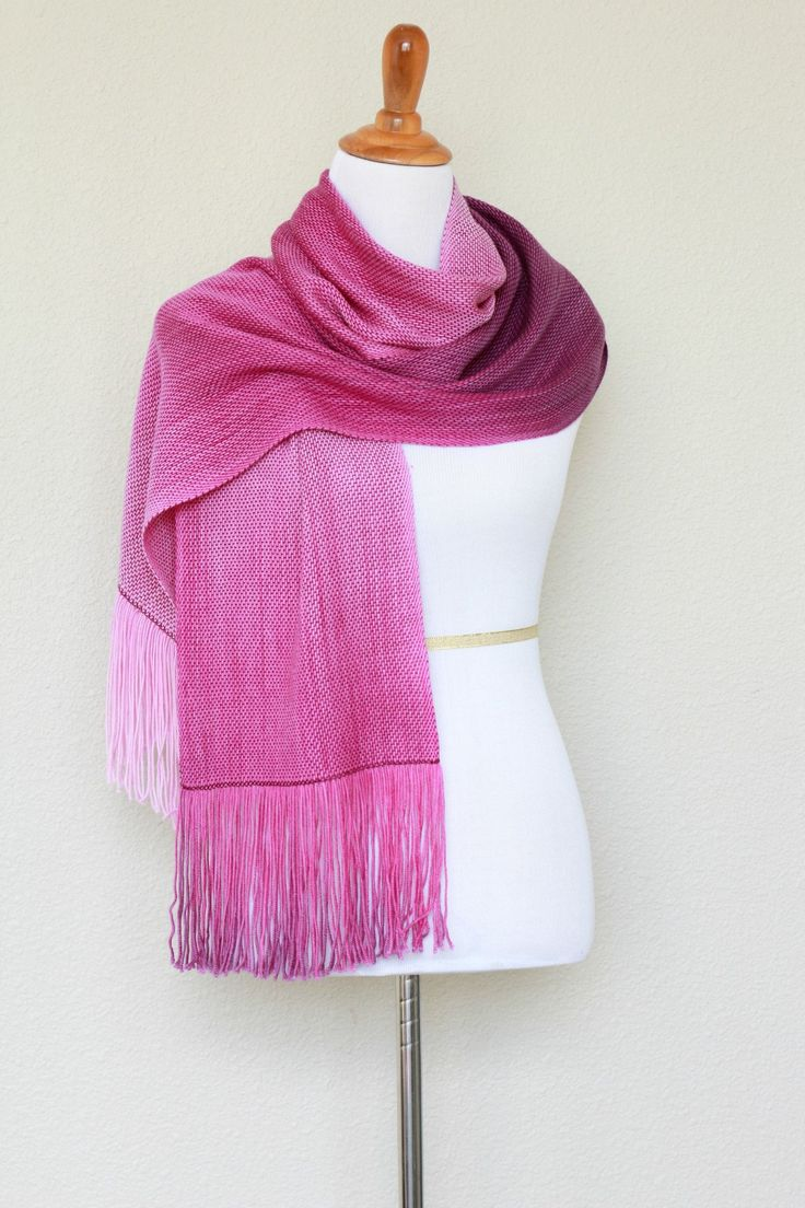 Hand woven scarfin purple and pink shades. Perfect #gift for her! This woven scarf drapes perfectly and very nice to touch! The color changes are very smooth. Measures: L: ... #kgthreads #accessories #cozy #fall #fashion #gradient #unisex #women #wrap