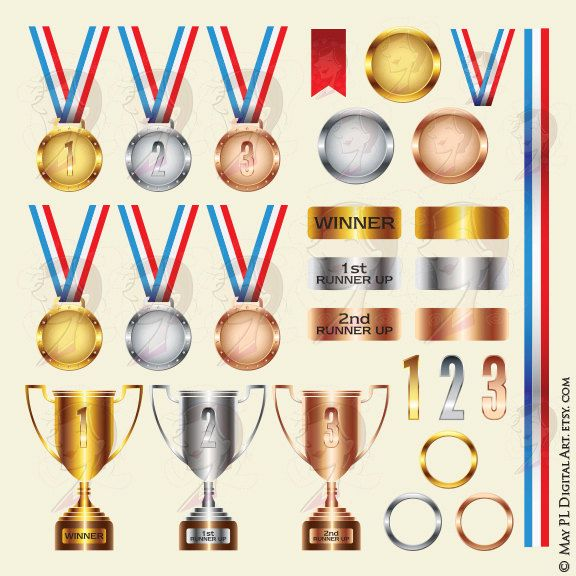 Award Medals Trophies Winner School Teacher Office Clipart Trophy Cup Gold Silver Bronze Ribbon Medal Medallion Achievement Success 10285 by MayPLDigitalArt on Etsy