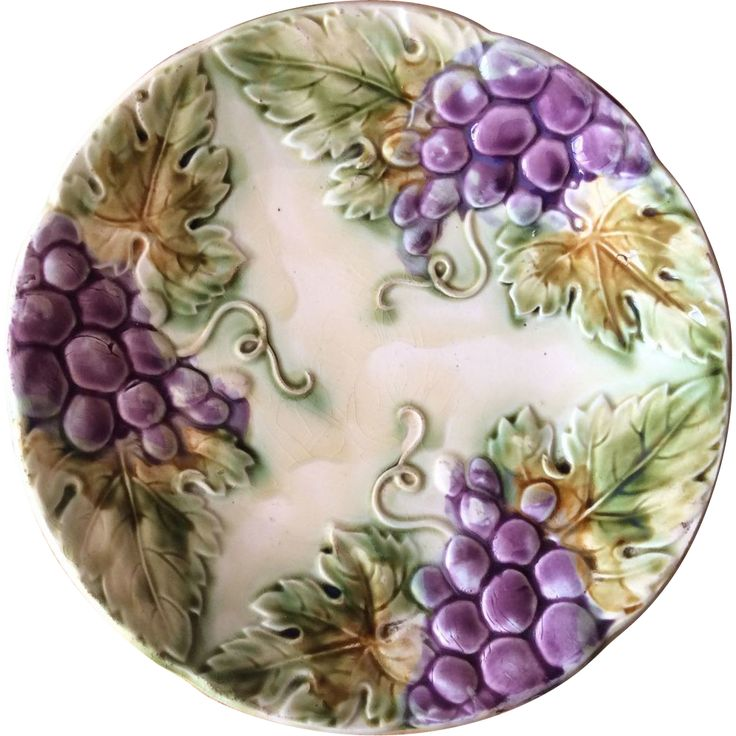 French Majolica Grapes Decorative Plate, offered by Ruby Lane Shop, Luxury French Collection.