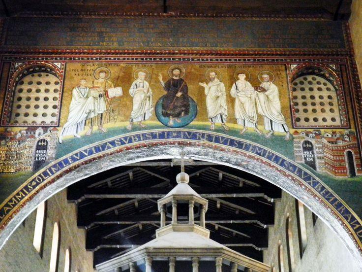 Gesù tra Ss. Paolo, Stefano, Ippolito, Pietro, Lorenzo e papa Pelagio, fine VI sec., S. Lorenzo f.l.m., Roma.