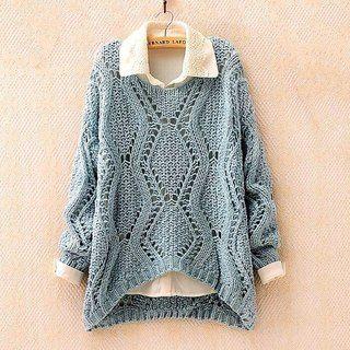 Голубой пуловер с ажурными ромбами | Вяжем,Вяжем,Вяжем!!!